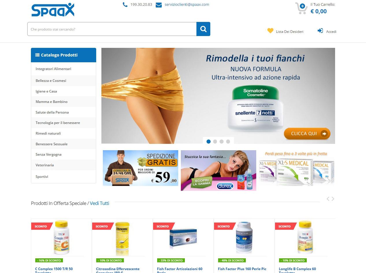 Spaax.com, integratori alimentari, cosmetici e prodotti di parafarmacia