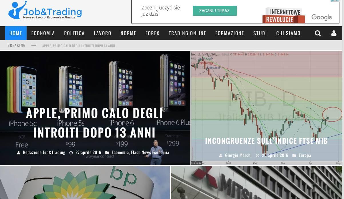 Jobtrading.it, sito di economia, finanza e trading online