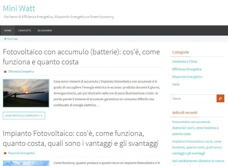 Mini Watt, il sito che informa su Ambiente e Risparmio Energetico.