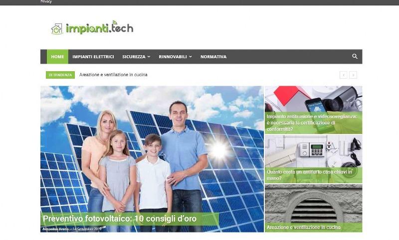 Impianti.tech, il sito dei servizi nell'ambito degli impianti elettrici e delle energie rinnovabili